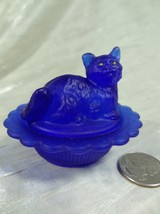 Cat on Nest Salt Dip Cobalt Blue Satin Glass Kitty Kitten - $16.82