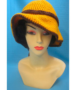 Handmade Crochet Fun Sun Hat with Peek-a-Boo Brown Dog on Gold - $27.00