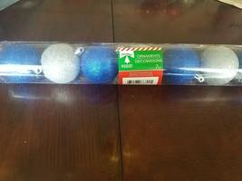 Christmas House Blue and Silver Bulbs 7 pc upc 639277868015 - $18.69