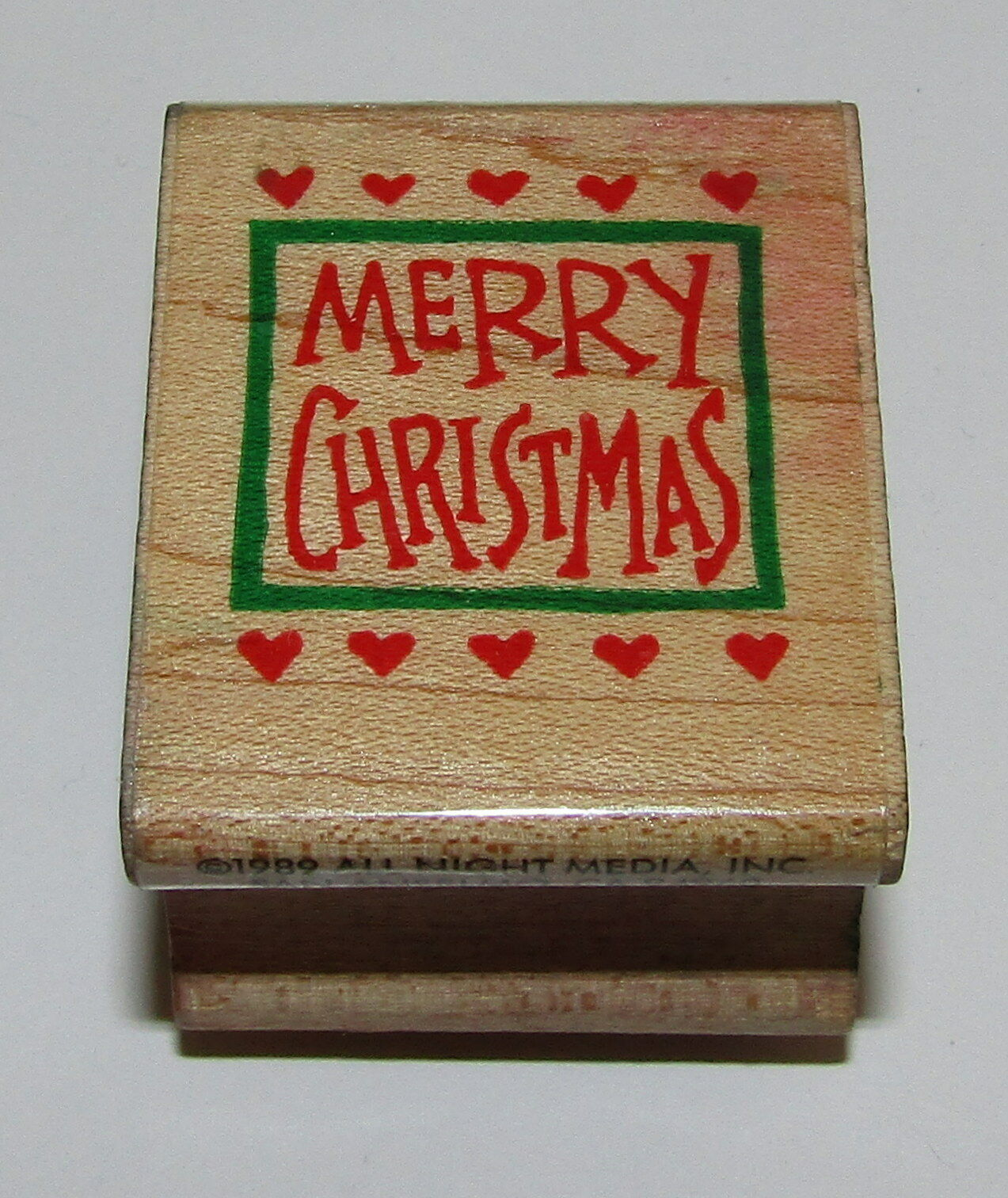 Primary image for Merry Christmas Rubber Stamp Hearts All Night Media Retired Wood Mounted
