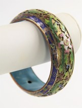 ESTATE VINTAGE CHINESE EXPORT WIDE CHAMPLEVE CLOISONNE BANGLE BRACELET B... - $165.00