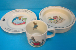 Wedgwood Peter Rabbit Beatrix Potter Heavy Bowl Plate Cup England - $58.95