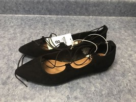 Mossimo Ladies Lace Up Dress Flats Size 8 In Black - $9.15
