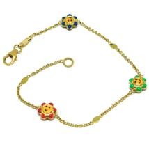 Bracelet Yellow Gold 18k 750, for Girl, Three Flowers Enamelled, Daisy, 17 Cm image 1