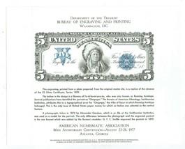 1977 AMERICAN NUMISMATIC ASSOCIATION $5 SILVER CERTIFICATE SERIES 1899 E... - $7.55