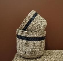 2pcs Craft Basket Bowl - Color Black Or White Natural - Material Seagras... - $25.99