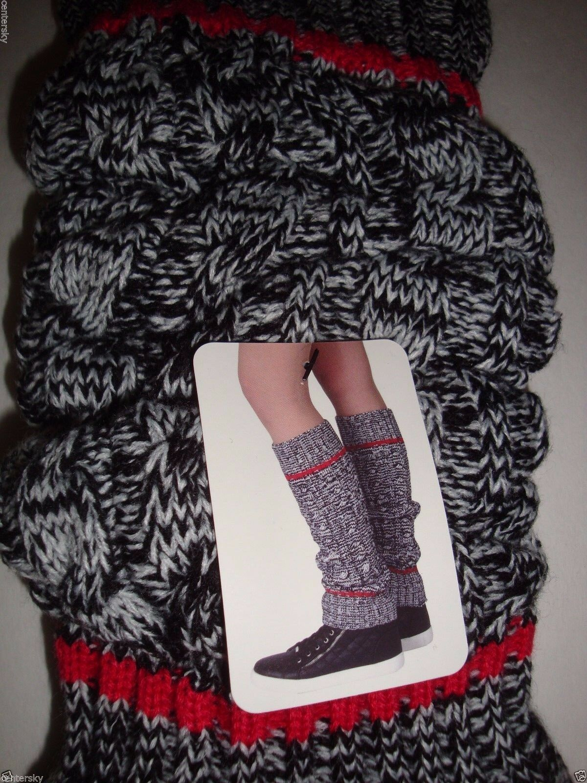 New $18 Steve Madden Legwear Women's Leg Warmers Black White Red Cable Knit OS image 2