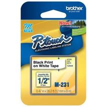 """Brother M231 12mm (0.47"""") Black on White Non-Laminated Tape for P-Touch Lab - $5.00"""