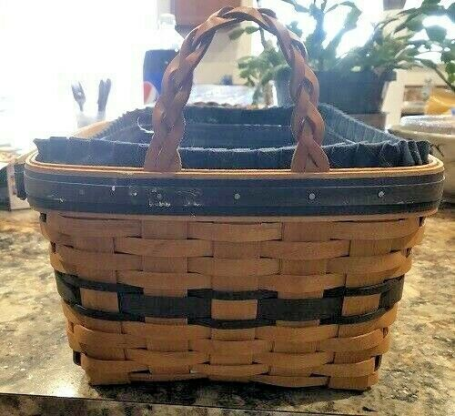 Longaberger Basket 1997 Collectors Club Edition Braided Leather Handles NEW image 3