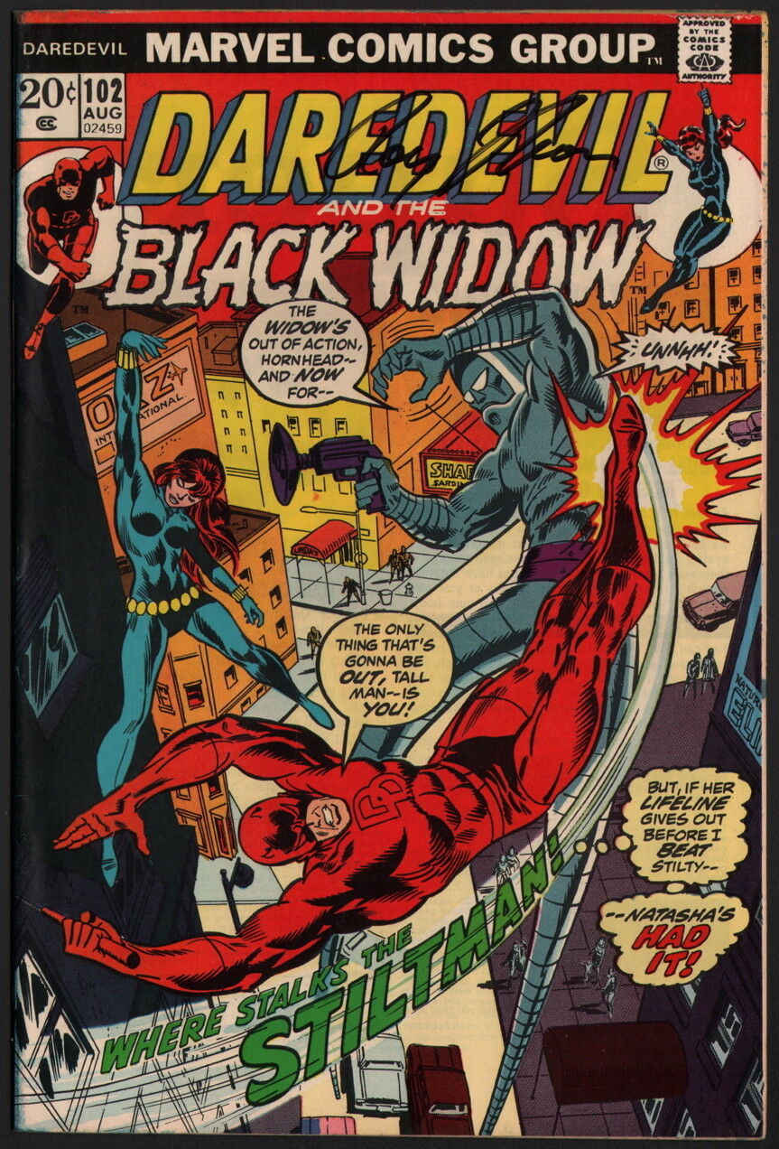 1973 Daredevil #102 SIGNED Roy Thomas & Gerry Conway / Black Widow Appearance