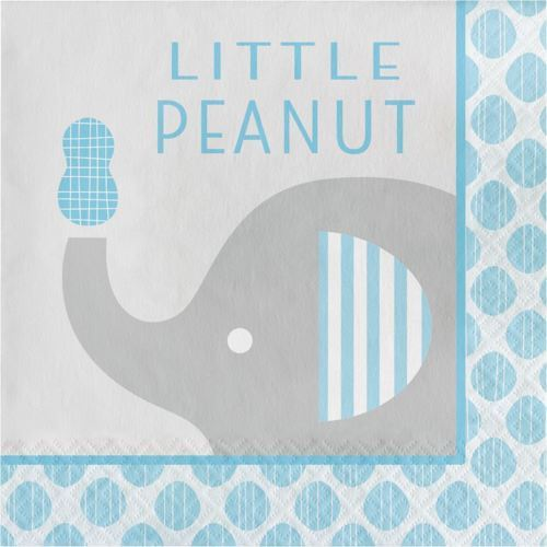 """Little Peanut"" Boy 16 Blue Elephant Baby Shower Luncheon Napkins"