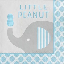 """Little Peanut"" Boy 16 Blue Elephant Baby Shower Luncheon Napkins - $5.19"