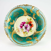 Antique Bavarian Bowl, Hand Painted Poppy Floral, Green with Heavy Gold,... - $49.00