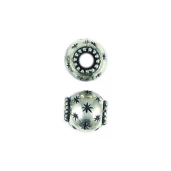STAR BEAD WITH BIG HOLE FINE PEWTER PENDANT BEAD - 12x12x12mm
