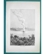 SAN SALVADOR Ilopango Volcano - 1891 Antique Print Engraving - $20.25