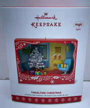 Hallmark Tinseltime Christmas 2017 Magic Ornament Vintage Silver Tinsel Tree - $34.60