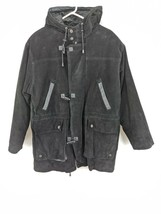 Wilson Leather Hooded Coat Mens Sz Small Black Flannel Lined (hg) - $45.00