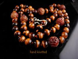 "Antique TigerEye necklace - 32"" long - hand knotted - Vintage tiger eye ... - $345.00"