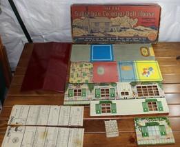Vintage Marx Suburban Colonial Doll House Metal Tin Toy Lithograph Origi... - $59.99
