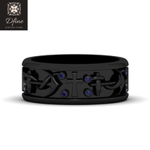 Blue Sapphire Crucification Of Jesus Holy Cross Anchor Rope Design Eternity Band - $2,699.99+