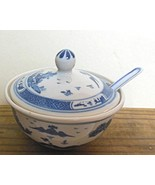 "Blue and White Ceramic Bowl with Lid and Spoon 3"" Diameter - $16.00"