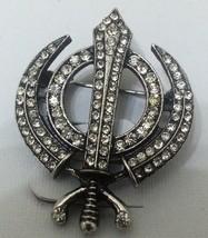 Stunning Diamonte Silver Plated SIKH Khanda Brooch Cake Pin X-mas SINGH GIFT - $5.01