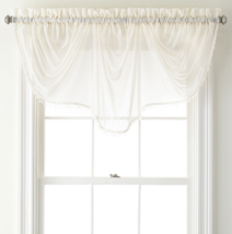 """Home Expressions Lisette Sheer Imperial Beaded Valance 90"""" W X 33 1/2"""" L Ivory - $21.99"""