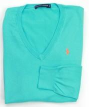 Ralph Lauren Damen türkis blau Baumwolle V-Ausschnitt Pullover Größe S - $83.04