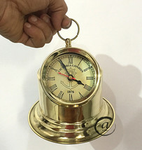Christmas Nautical Maritime Brass Table/Desk Clock With Brass Finish Antique - $36.96