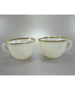 Fire King White Cream Swirl Scallop 6 ounce Coffee Cups Gold - $8.99