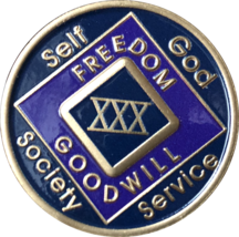 1 - 50 Year NA Medallion Triplate Narcotics Anonymous Black Blue & Purpl... - $42.99