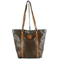 Auth CELINE Macadam PVC Canvas & Brown Leather Tote Bucket Shoulder Bag ... - $98.01