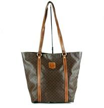 Auth CELINE Macadam PVC Canvas & Brown Leather Tote Bucket Shoulder Bag ... - $98.01