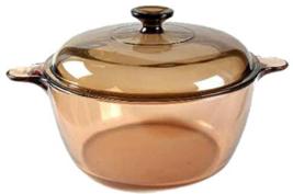 Corning Ware Visions Dutch Oven Stock Pot & Pyrex Lid Amber 4.5L 5 Qt USA  - $59.39