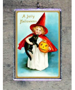 BLACK CAT Halloween Red WITCH GIRL art  frame PENDANT ornament 4 necklace - $16.46