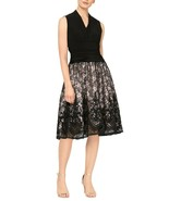 SLNY V-Neck Ruched Jersey Waist Lace Skirt Sleeveless Party Dress NWT 12 - $47.99