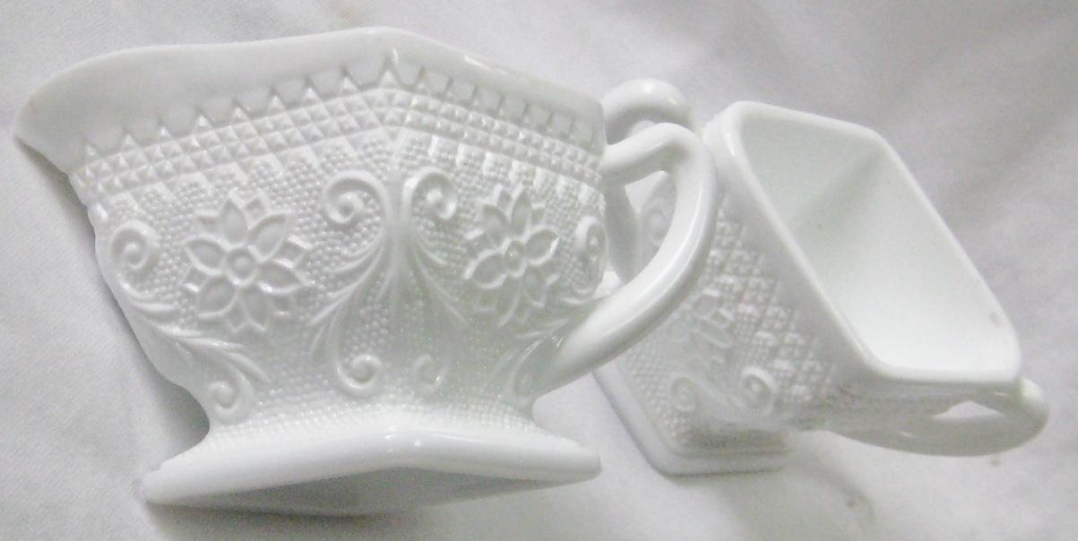 Vintage Milkglass Sugar & Creamer Set Flowers & Scrolls
