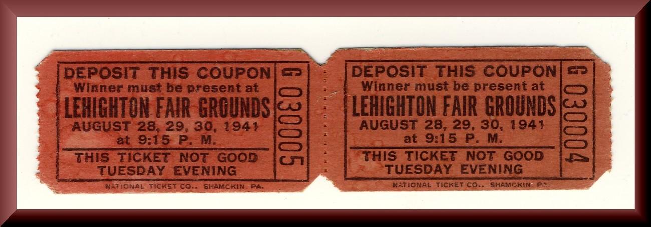 2 lehighton tickets front