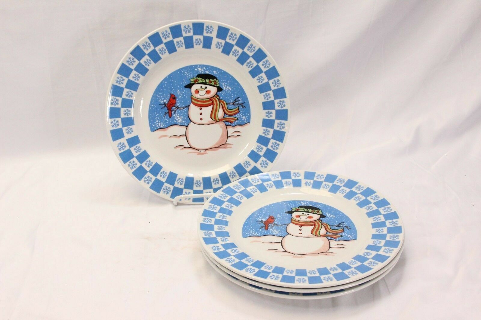 "GEI Snowman Xmas Dinner Plates 10.5"" Set of 4"