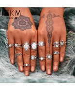 17KM® 13 pcs/set Vintage Women Big Opal Rings Set Tibetan Bohemian Knuck... - $5.89