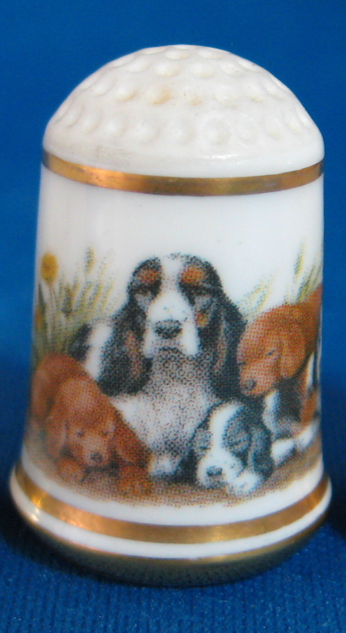 Bone China Animal Thimbles Cats Dogs and Ducks Franklin Porcelain