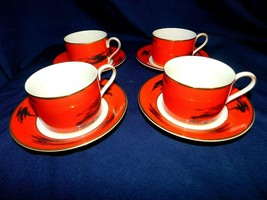 AA  Mikasa Fine China Negoria Red Designed by Bardi Cup Saucer Sets -4  ... - $18.65