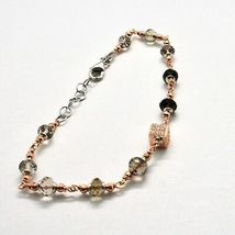Silver Bracelet 925 Laminated in Rose Gold with Quartz Smoky and Zircon Cubic image 4