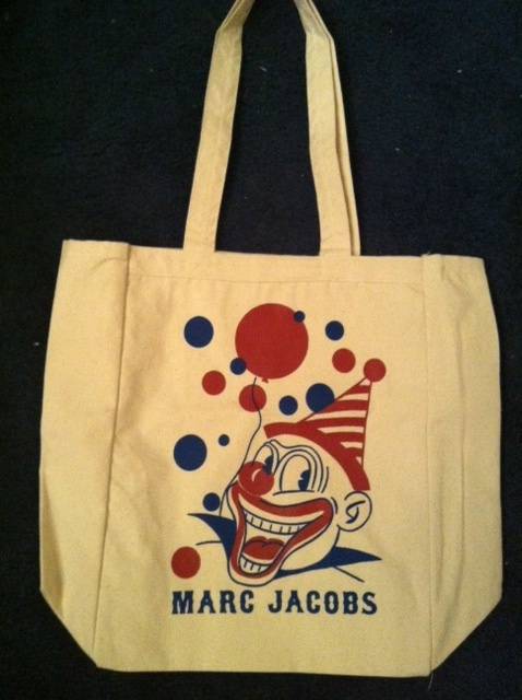 Primary image for MARC JACOBS limited edition logo clown eco green friendly CANVAS BAG RARE NEW!