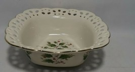Pierced Serving Bowl, Holly Holiday Pattern, Christmas, Gold Trim, Royal... - $12.61