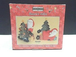 Sakura Oneida Salt Pepper Shakers Christmas Santas Gifts Holiday Xmas Zu... - $2.72