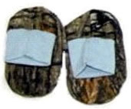 Newborn Camo Booties with Blue Trim 0-6 Months - $8.00