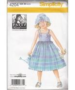 "Child's Dress & Hat Sizes S(19"")M(20"")L(21"")Patty Reed Pattern Simplicity 4204 - $4.74"