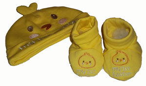 Primary image for Baby Boys Ducky Hat and Booties Set 0-9 Months