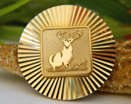 Vintage Stag Elk Deer Brooch Pin Star Burst Etched Gold Tone - $15.95